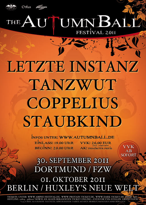 Autumn Ball 2011: Dortmund, Berlin and Hannover Dates! Lineup and